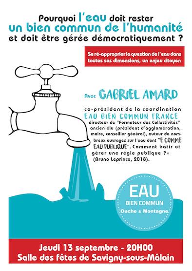 Conférence-débat sur l'eau – Jeudi 13 septembre à Savigny-sous-Mâlain